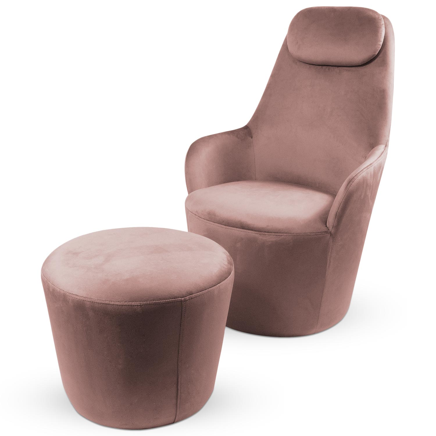 Fauteuil Dongal avec repose-pieds Velours Rose