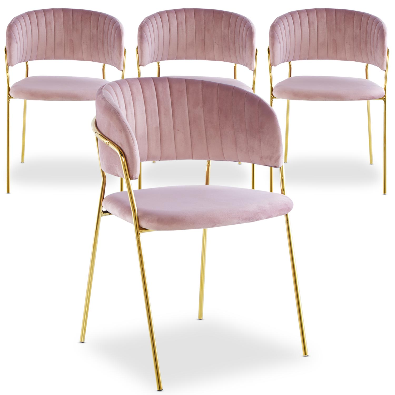 Lot de 4 chaises Tabata Velours Rose