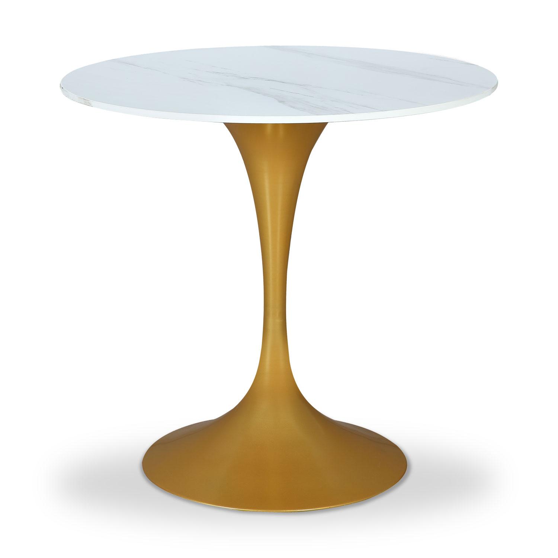 Table ronde Jeanne Effet Marbre Blanc et Or